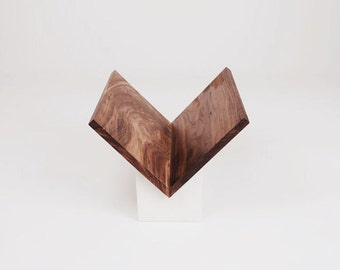 Modern Walnut and Cast-Cement Art Book Display Stand