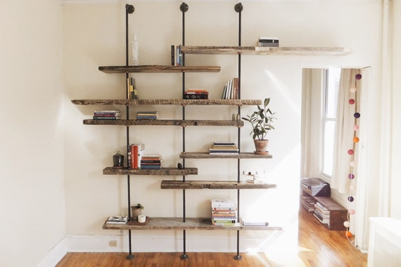 quality design 2b5b8 1e91d Modern Reclaimed Wood Shelving Unit Using Aged Salvaged Wood from New York  City