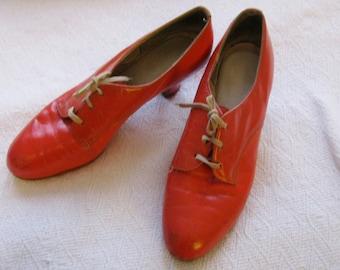 Vintage Orange Oxford Heels