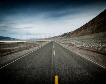 Death Valley, Open Road , Blue Gray Art, Desert Road, Southwest Landscape Photography, Desolate Nightscape, Starry Sky, Desert Highway