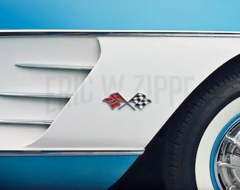 Chevrolet, Corvette, C1, 1960, Vintage auto, car, car photo, car art, blue, white, classic car, usa, sports car, car photograph,