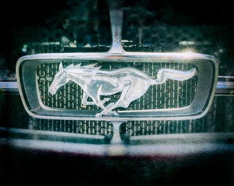 Classic Ford Mustang grill emblem, muscle car, , car photo, car art, chrome, classic car, usa, sports car, car photograph,