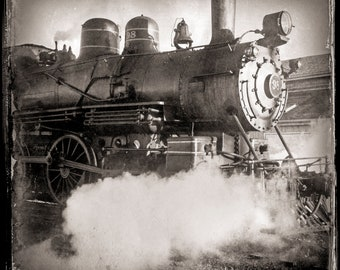 Vintage Style Steam locomotive #98 Wilmington Western Railroad toned black and white photograph