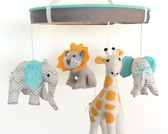 Baby Mobile--Aqua Yellow Grey Jungle Animal Mobile--Crib Mobile--Safari Nursery Mobile--Custom Fabric Mobile