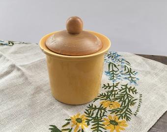Vintage Swedish jar by Gustavsberg Stig Lindberg Pharmacy jar Yellow ceramic jar with wooden lid