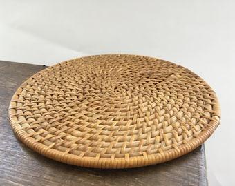 Vintage woven coaster Round coaster Woven pot holder