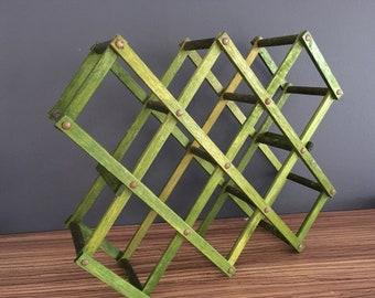 Vintage wooden wine rack Green wooden wine holder Folding wine rack Rustic wine rack
