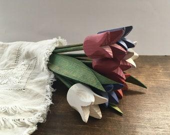 Swedish Vintage hand carved wooden tulips Set of 8 SPRING Home Garden decor Wooden flowers Handmade wood tulips