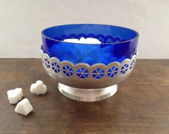 Soviet Vintage sugar bowl Cobalt Blue Glass sugar Bowl Retro candy dish Footed sugar bowl USSR era kitchen