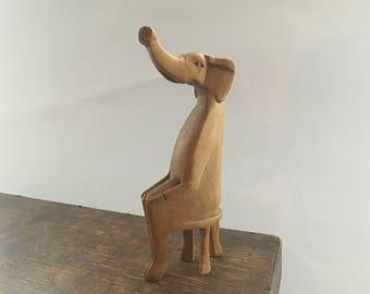 Vintage wooden elephant statue Sitting Wooden elephant Wooden carved elephant Modern home decor