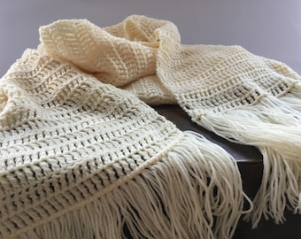 Vintage crochet shawl Off white crochet scarf with long fringes Handmade shawl fringed crochet wrap Gift for her