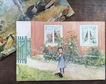 Vintage lithograph Brita With A Cat And A Sandwich  and Catching Crayfish 1896 by Carl Larsson Swedish vintage wall hanging