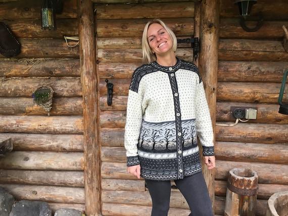 Vintage knitted cardigan Scandinavian cardigan Gra