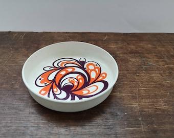 Vintage Danish coaster by Laurids Lonborg Round metal tray White orange lilac Retro Scandinavian coaster Mid century kitchen