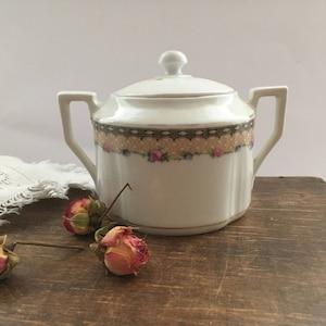 Antique Bavaria sugar bowl White pink floral sugar bowl Shabby flatware