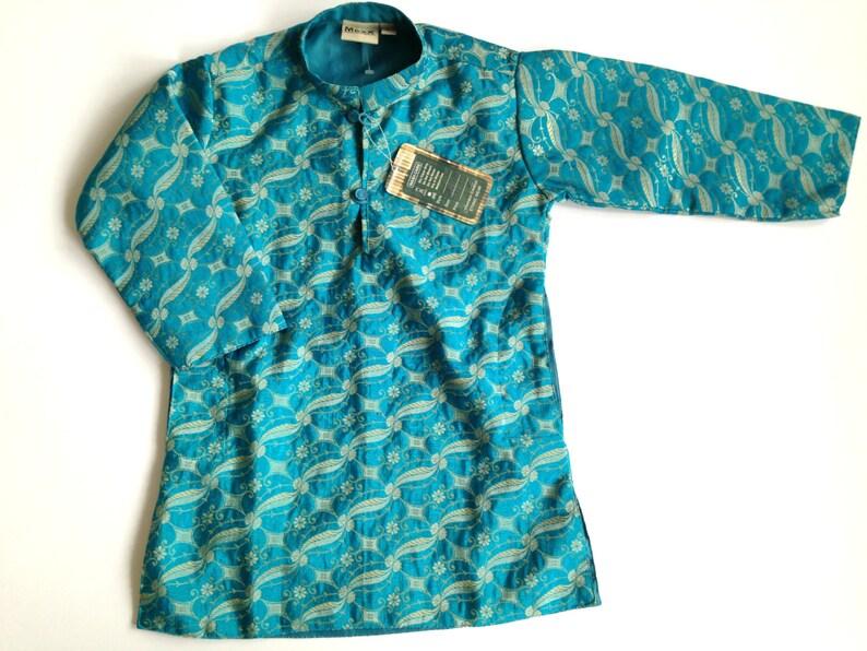 e6e8ef4d12 Vintage kids kaftan dress Turquoise Golden tunic dress Long | Etsy