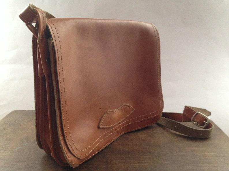 3f7c6dc9885b Vintage Genuine leather handbag Small purse Handmade cognac brown shoulder  bag CROSSBODY purse for her girl woman