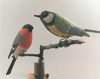 Vintage wooden bird wall hanging bird figurines Scandinavian design birds Mid century bird sculpture