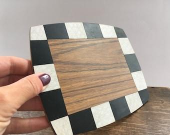 Vintage wooden coaster Black and white coaster Checkered pot holder