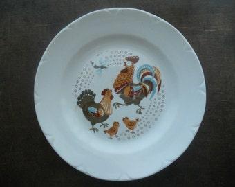 Soviet Vintage plate Kids plate Set of 2 Plates with Rooster hens chicks USSR era 1970s Riga Porcelain factory RPR Easter plate