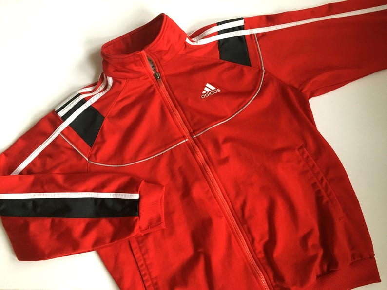da497b51c8d6d Vintage Adidas Sport Jacket Red Adidas Hipster jacket Vintage Adidas Women  Men JUNIOR Jacket Activewear Vintage sportswear