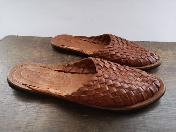 Vintage slippers Brown leather slippers BOHO HIPPI