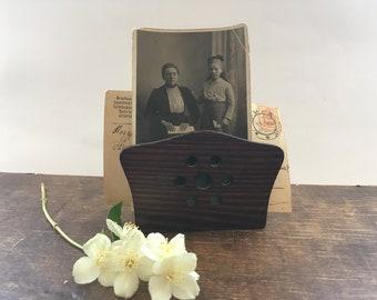 Vintage brown wooden napkin holder Rustic Napkin holder Office desk accessory Document letter holder