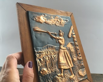 Vintage Wooden copper wall decor Copper Wall plaque Copper wall hanging Scandinavian vintage