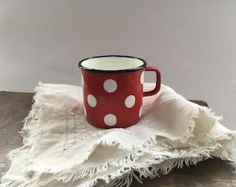 Vintage red white enamel mug Dotted Enamel cup Red Polka dot mug Kitchen decor
