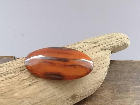 Soviet vintage wooden  brooch Latvian handmade brooch Soviet jewelry oval Wooden brooch