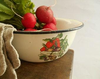 Soviet vintage white enamel Bowl with vegetables Primitive enamel bowl USSR era,1980s