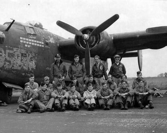 World War Airplane, aviation, B-24 Liberator, pilot and squad, Black and white, old, vintage antique, photography, picture, print, fine art