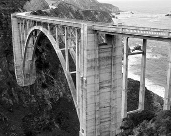 Bixby Bridge, Big Sur Coast, Ocean, Mcway Falls, Black and White, Monochrome, Monterey, beach, gloomy, overcast, cloudy, fine art print