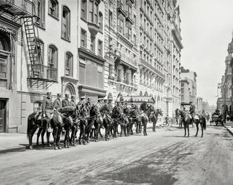 New York City, 1905 Mounted horse police parade squad, Black & white, vintage antique, photography, picture, print, fine art