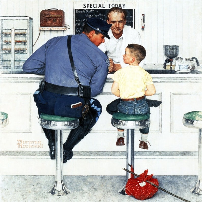 Norman Rockwell The Runaway police officer print of the image 0
