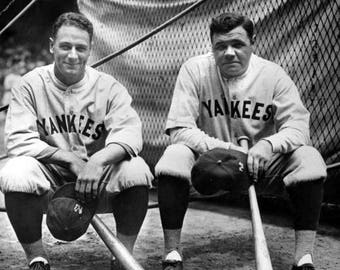 Lou Gehrig & Babe Ruth Yankees first baseman, Iron horse, MVP , Black and white, old, vintage antique, photography, picture, print, fine art