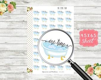 H156 Me Time Bathtub Planner Stickers - Me Time Stickers - Bathtub Planner Stickers - Bubble Bath Stickers - Erin Condren, Happy Planner