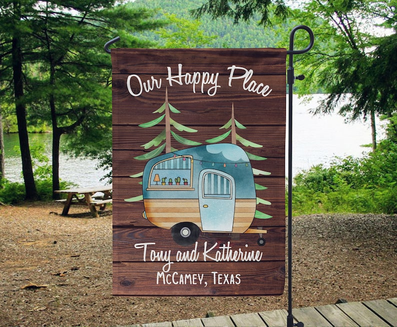 Personalized Our Happy Place Camping Flag