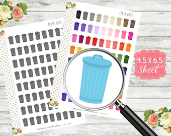 H177 Trash Can Stickers - Trash Can Planner Stickers - Trash Day Stickers - Garbage Stickers - Chore Stickers - Trash Stickers - Garbage Day