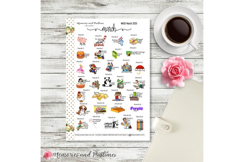 Celebrate March 2020 - Planner Stickers - National Holiday Stickers -  Special Days Stickers - Wacky Holiday Sticker - Holiday Sticker - WH03