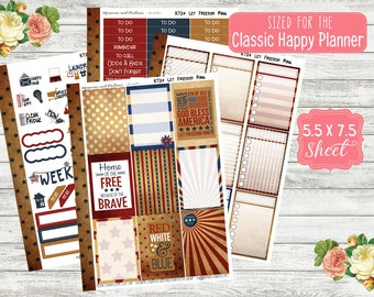 KT24 Let Freedom Ring - CLASSIC HAPPY Planner Sticker Kit - July 4th Stickers - Happy Planner 365 - Weekly Planner - MAMBI Stickers