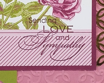 Sympathy, Purle Roses with Green Banner