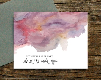My heart rests easy card -  Love Appreciation  Anniversary Friendship Valentine's Day Birthday Thank You Husband Wife Spouse Wedding [042]