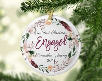 floral ornament engagement gift for newly engaged gift for friend engaged christmas ornament personalized gifts for couple ornament