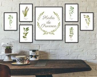 Unframed Watercolor Herb Wall Art, Kitchen Wall Art Set, Gallery Wall Art  Set, French Kitchen Prints, Dining Room Wall Art, Watercolor Herbs