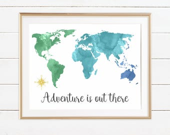 World typography map travel quotes gift adventure is out etsy world map wall art watercolor world map blue green world traveler nursery adventure is out there adventure nursery travel quote art gift gumiabroncs Images