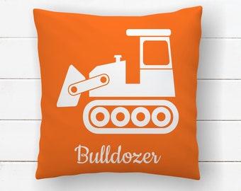 Bulldozer Construction Nursery Throw Pillow Covers 18x18, Little Boys Room Transportation Decor, Kids Bedroom Decor, Cushion Cover