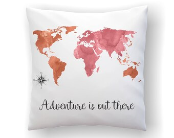 World typography map travel quotes gift adventure is out pink world map throw pillow adventure is out there travel quotes gift sofa pillow watercolor map decorworld typography map dorm decor gumiabroncs Images