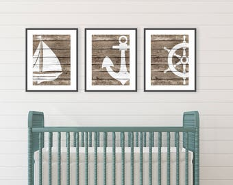 Rustic Beach Decor, Beach Bathroom decor, Ocean Nursery, Nautical Nursery, Nautical Wall Art, Living Room decor Beach Cottage Print Set of 3