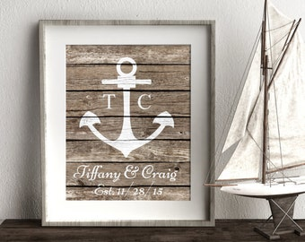 Nautical Anchor Wedding Wall Art, Personalized Engagement Gift, Nautical Wedding Present 1 Year Anniversary Gift For Husband Gift For Wife